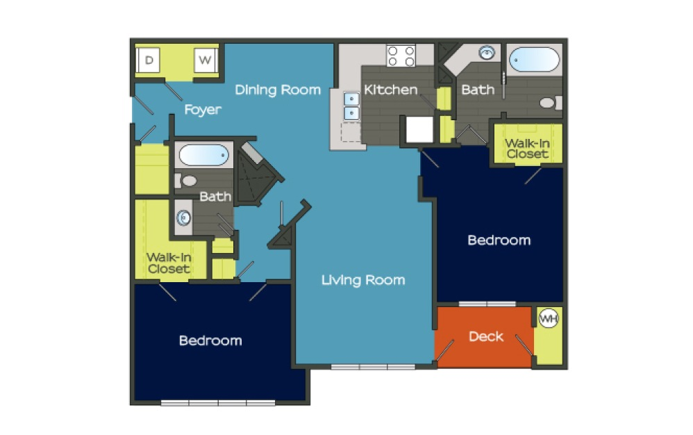 B2 - 2 bedroom floorplan layout with 2 baths and 1335 square feet. (Layout 2)