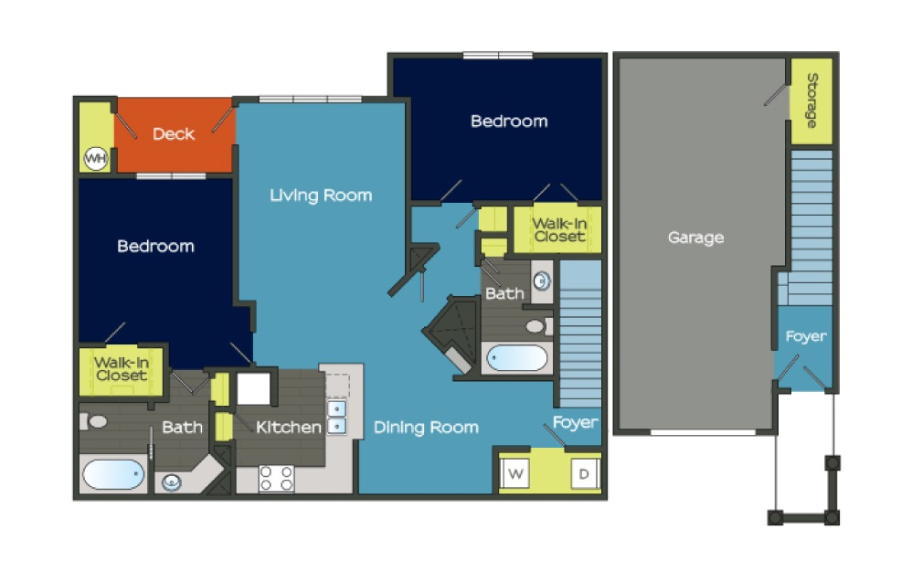 B2 - 2 bedroom floorplan layout with 2 baths and 1335 square feet. (Layout 3)