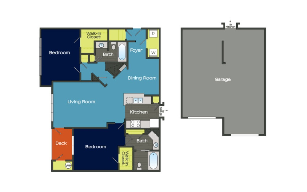 B2 - 2 bedroom floorplan layout with 2 baths and 1335 square feet. (Layout 1)